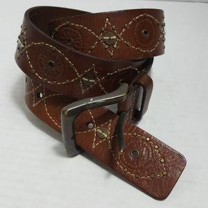 Fossil brown leather embellished embroidered belt